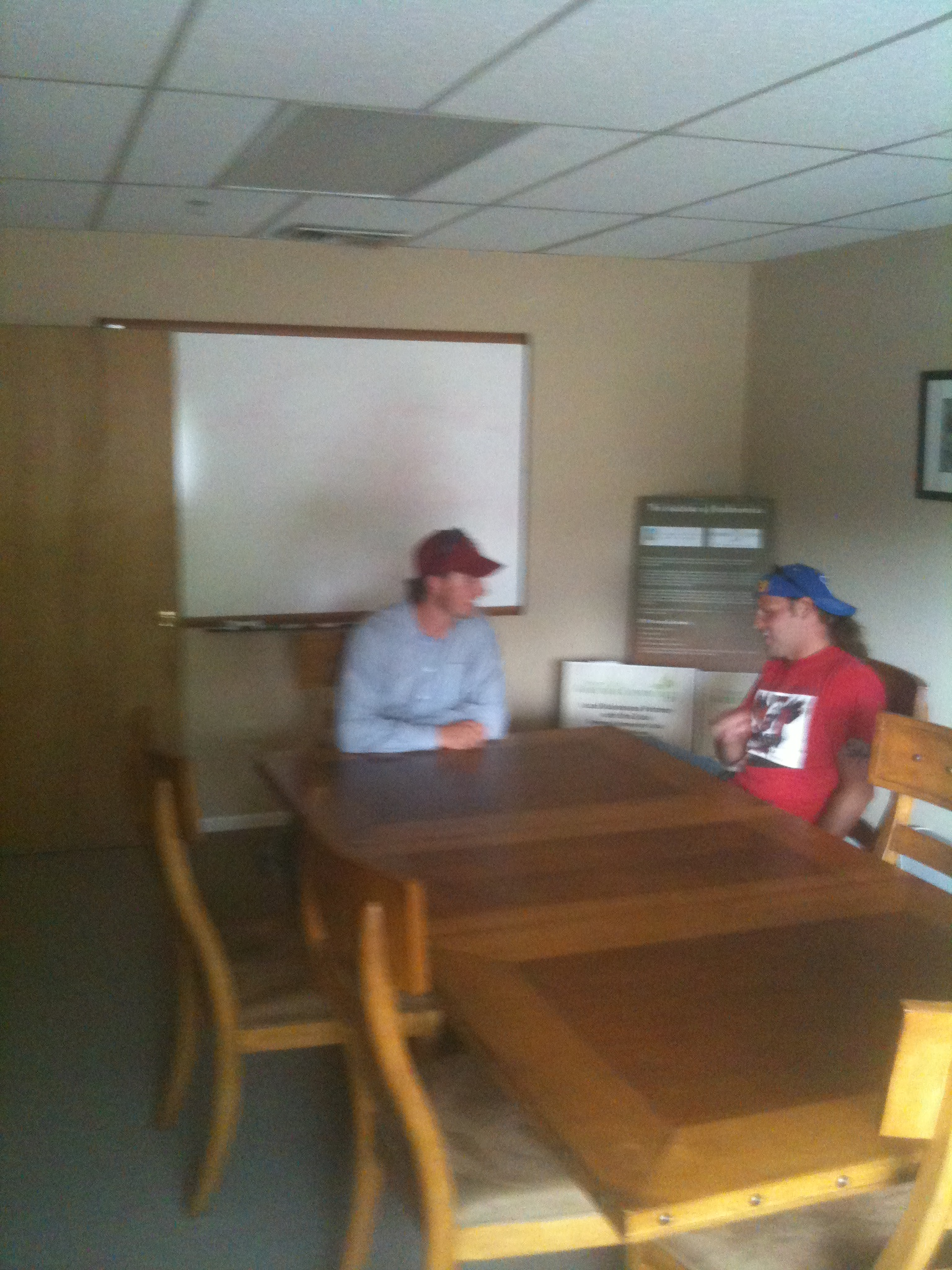 Paul (left) and Matt in the conference room